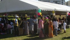 crowds gather around the main tent