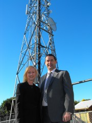 Mrs D'Ath with Minister for Broadband Senator Stephen Conroy, at the Bald Hills Telstra Exchange building. Source: Simon Rowell (used with permission).
